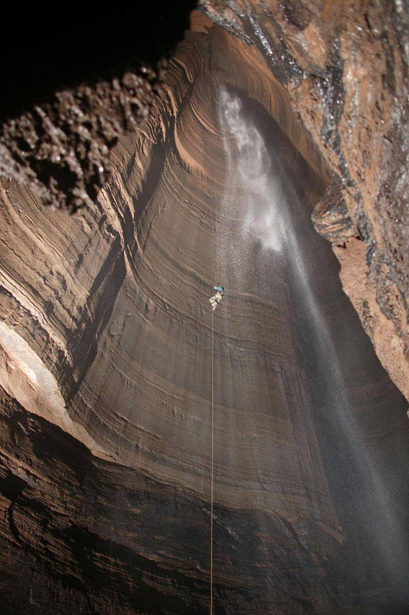 25. Rappelling into the Fantastic Pit cave in Mexico.