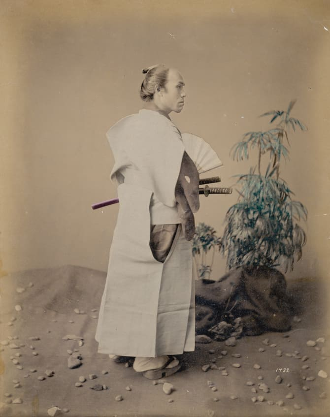 circa  1880: A Japanese Samurai warrior. (Photo by Hulton Archive/Getty Images)