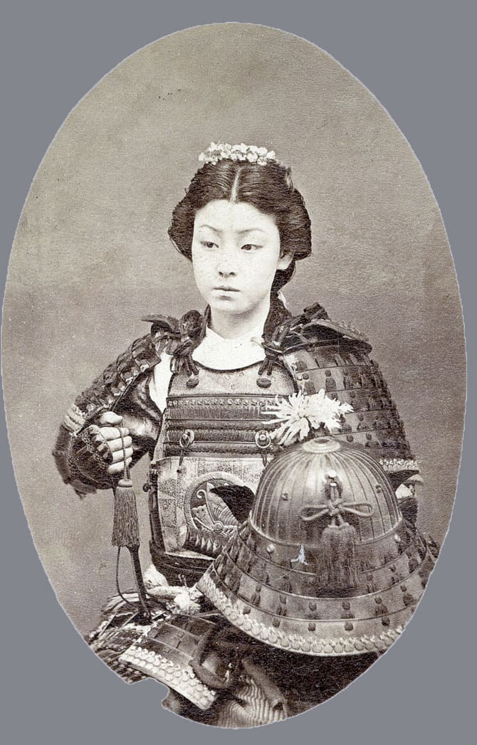 Photographic portrait of a female Samurai. Dated 1800. (Photo by Universal History Archive/UIG via Getty Images)