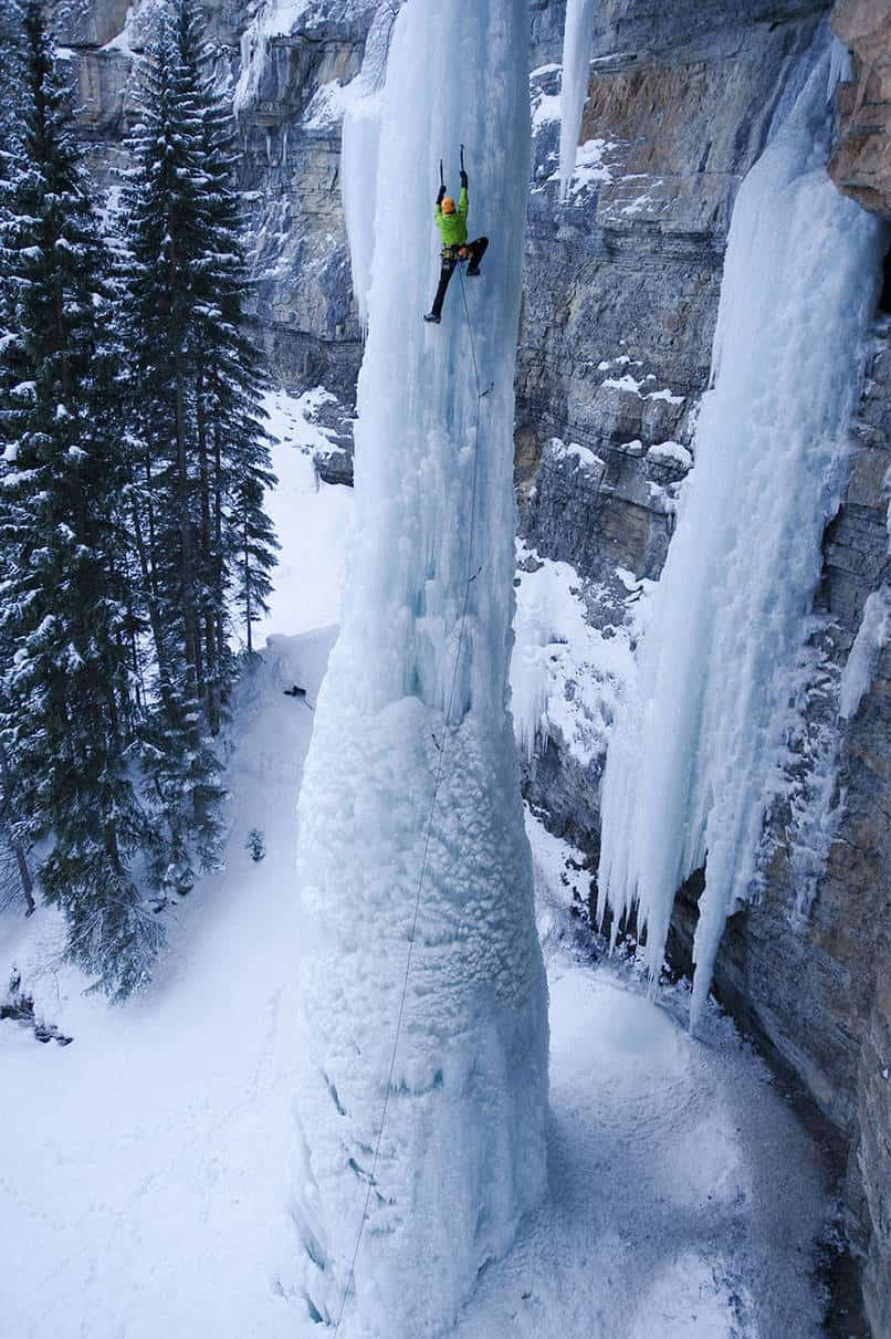4. Ice climbing a waterfall.