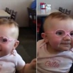 Baby sees parents clearly for first time