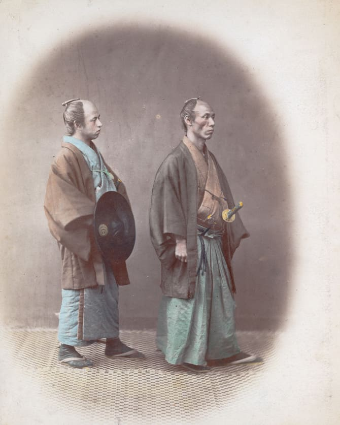 Japanese samurai, aristocratic warriors in the service of a lord, circa 1865. (Photo by Felice Beato/Hulton Archive/Getty Images)