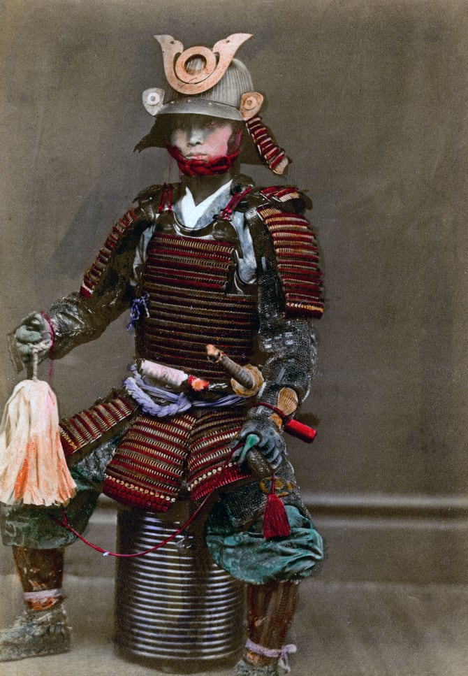 A samurai in armour, Japan, 1882. A photograph from Labor and Porcelain in Japan, by the United States Consul-General, Yokohama, 1882. (Photo by The Print Collector/Print Collector/Getty Images)