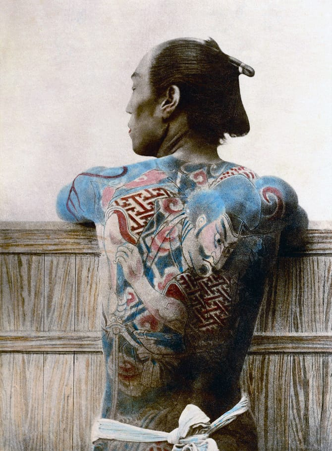 Japanese Samurai warrior with tattoos. Vintage photograph from japan 1890. (Photo by Universal History Archive/UIG via Getty Images)
