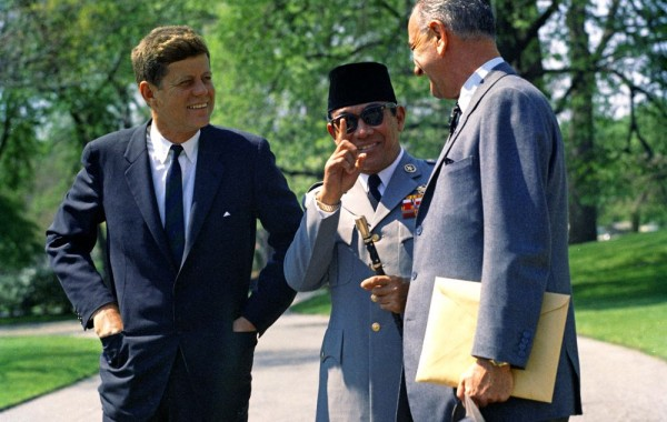 JFK, Sukarno and Lyndon Johnson.
