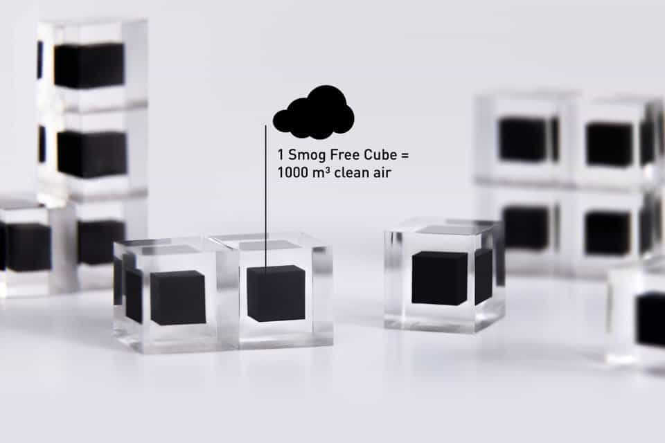 Each smog-free cube contains a cube of collected pollution from air totaling 1000 meters cubed