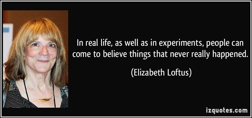 Elizabeth Loftus quote about memories: In real life, as well as in experiments, people can come to believe things that never really happened.