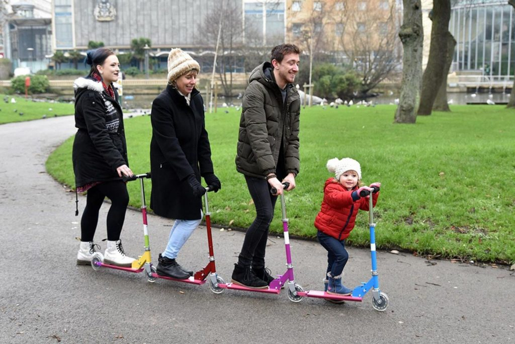 4 person family scooter being tested