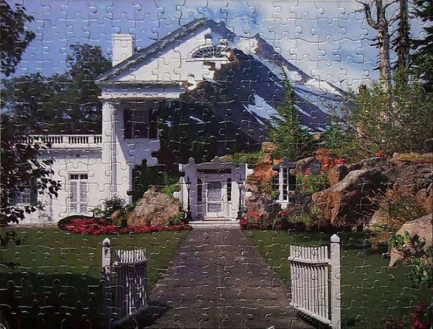 """Mountain Plantation"" This was the first puzzle montage he ever created. One puzzle is of the mansion at Orton Plantation and the other puzzle is of Mt. Jefferson. Interestingly, the plantation is located in his boyhood hometown of Wilmington, North Carolina and the mountain is near his current home in the Pacific Northwest."
