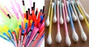 plastic straws and cotton buds