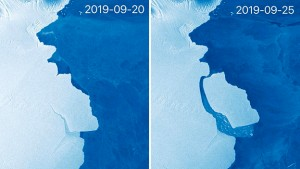 The EUs Sentinel 1 satellite system captured these before and after images