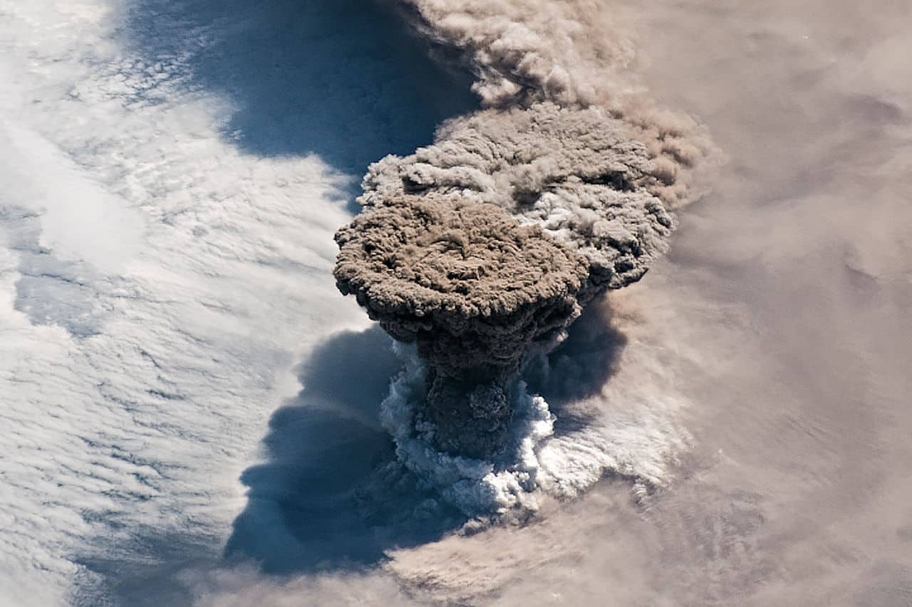 Russian volcano erupts for the first time in 95 years and astronauts captured the moment from space