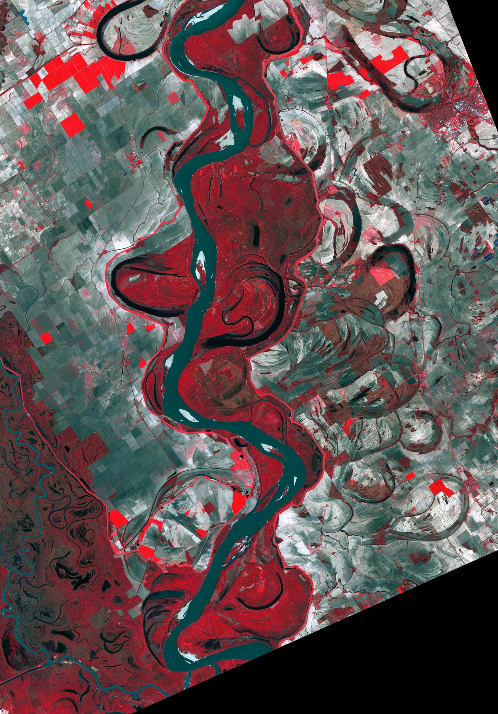 Documentation of Missippi River over the last 70 years via Nasa:Meti:AIST